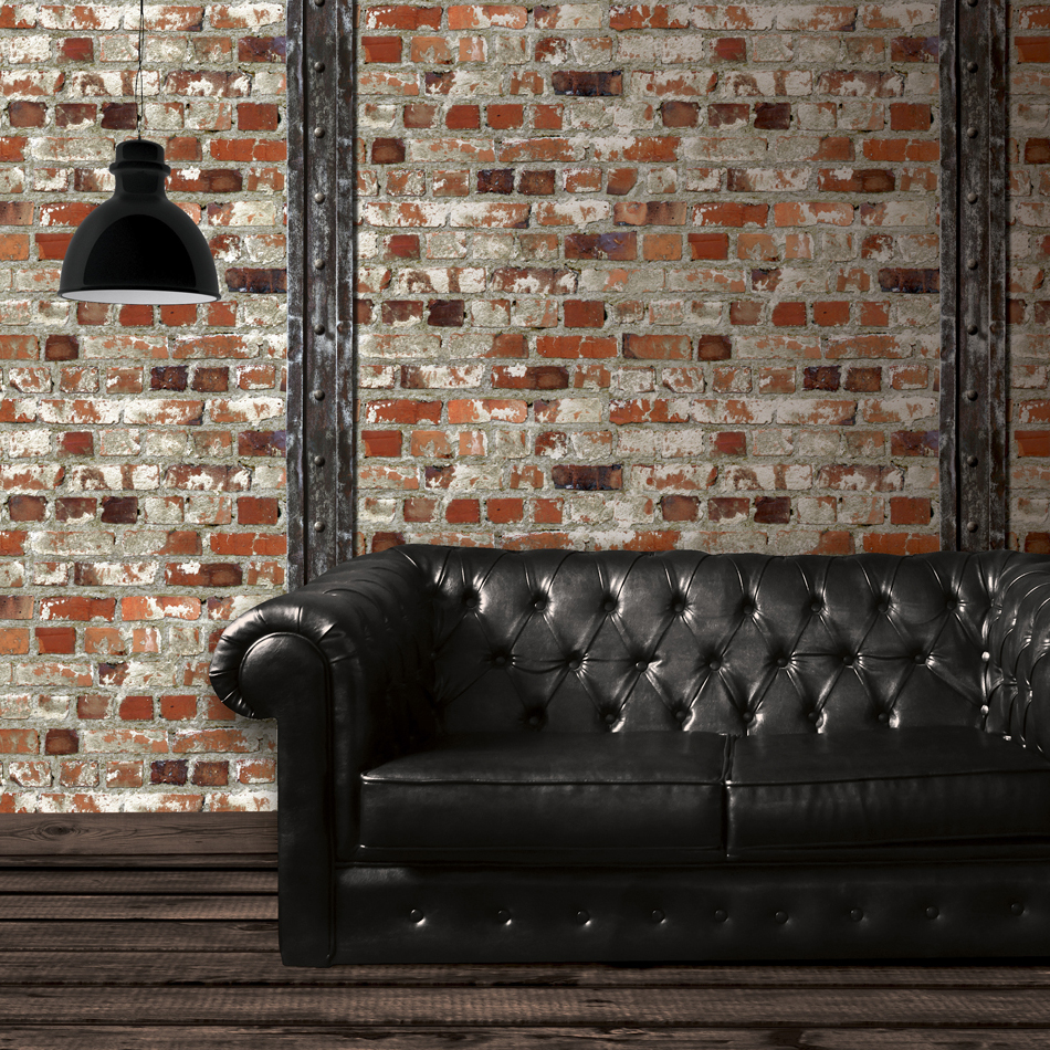 mural wallpaper loft brick with beam murivamuriva. Black Bedroom Furniture Sets. Home Design Ideas
