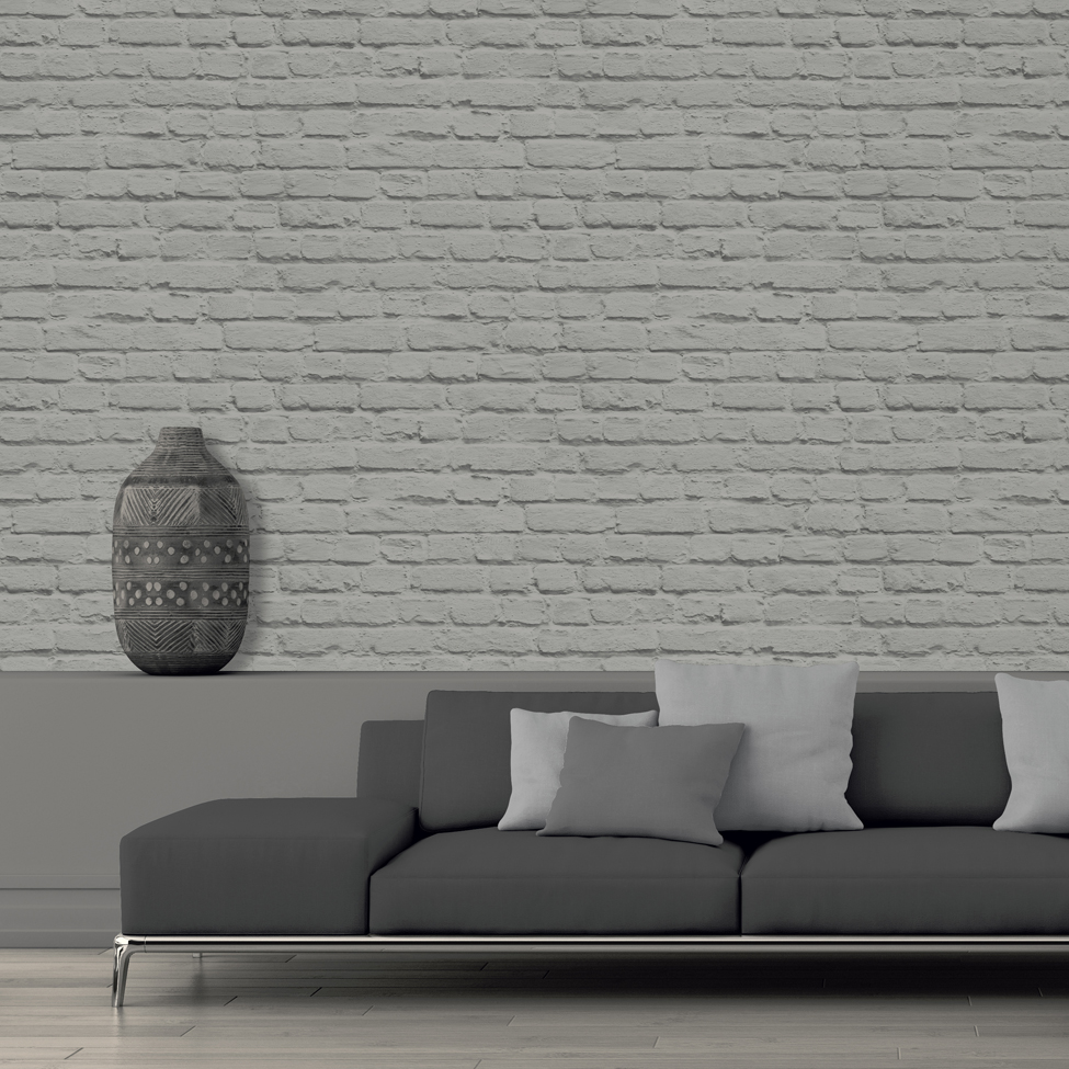 Mural wallpaper painted brick muriva j665 murivamuriva for A mural is painted on a