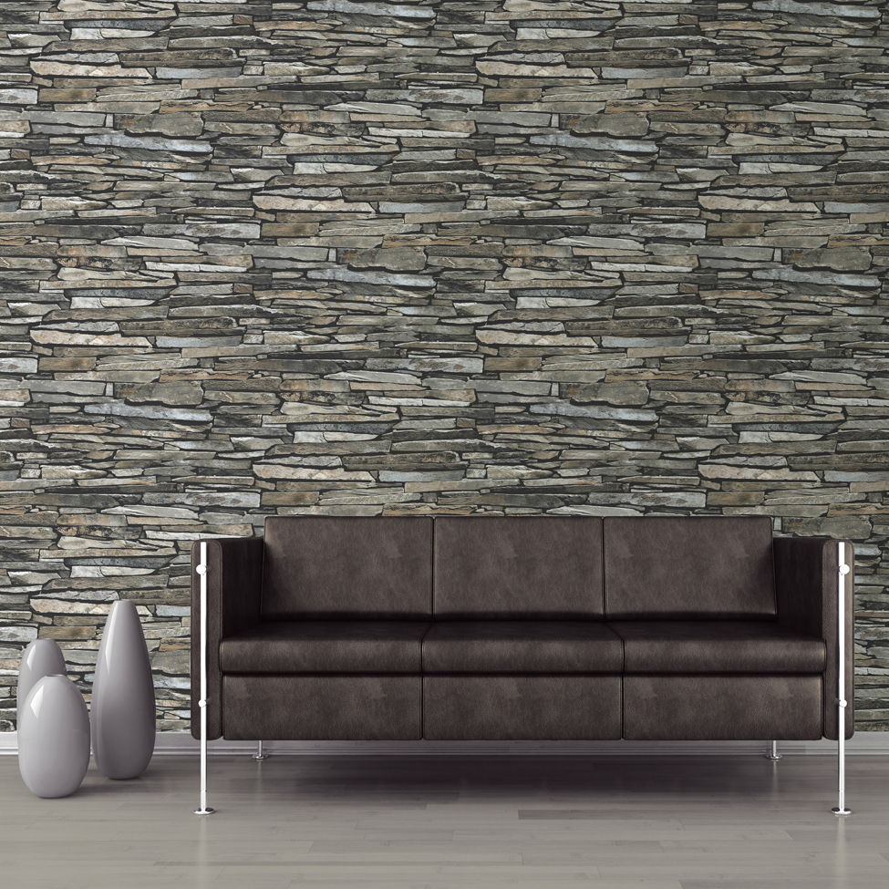 Mural wallpaper slate wall muriva j872 murivamuriva for Wallpapering a wall