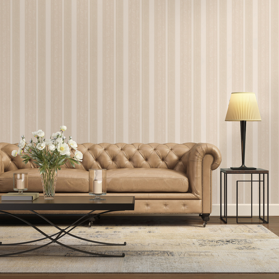 Striped Wallpaper Sabina Stripe Beige Muriva 15196 Roomshot