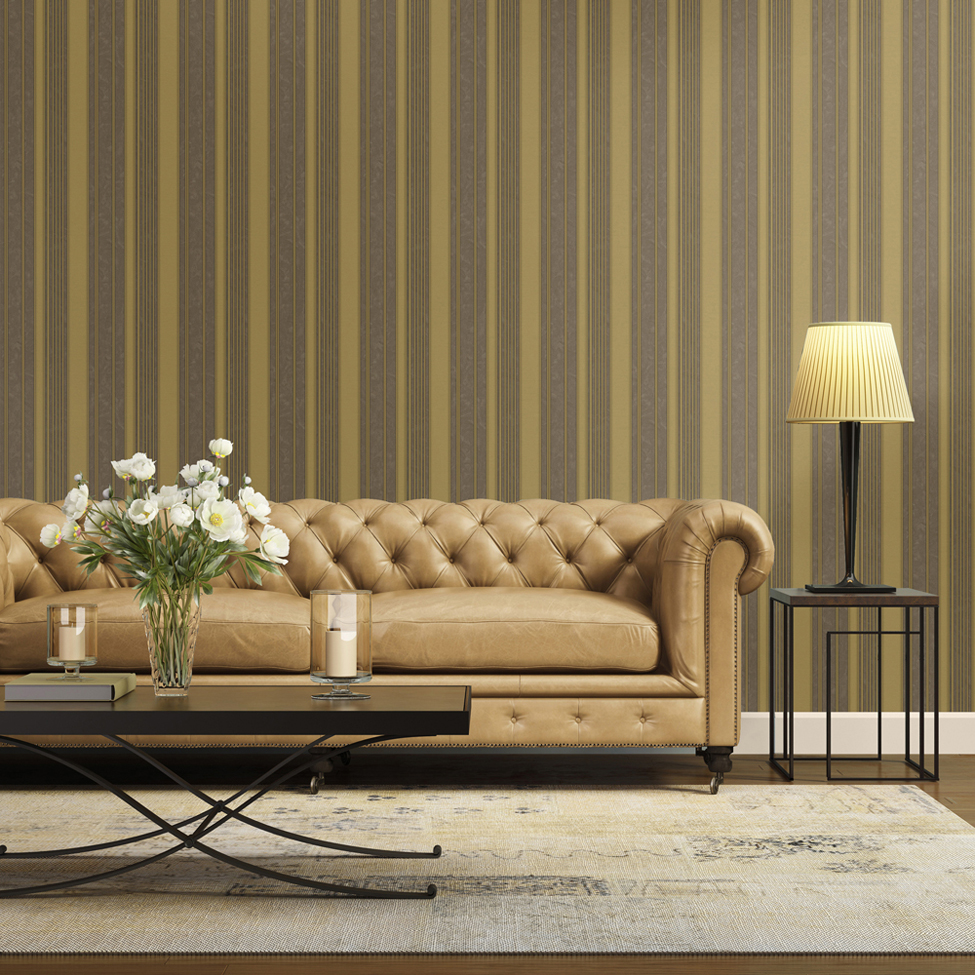 Striped Wallpaper Sabina Stripe Gold Muriva 18870 Roomshot