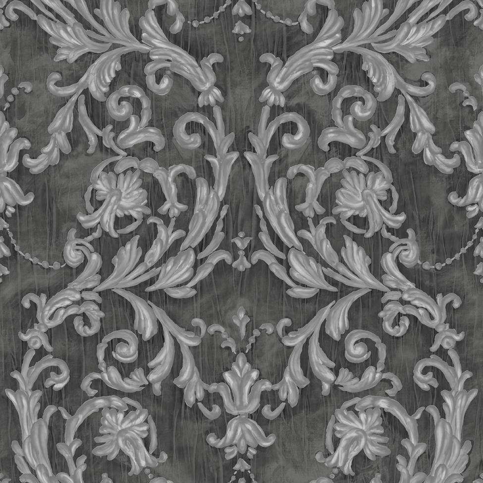 Classic Wallpaper Grecian Scroll Black Muriva J85209