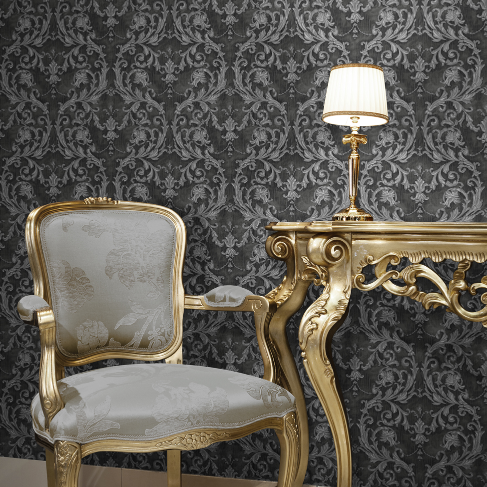 Classic Wallpaper Grecian Scroll Black Muriva J85209 Roomshot