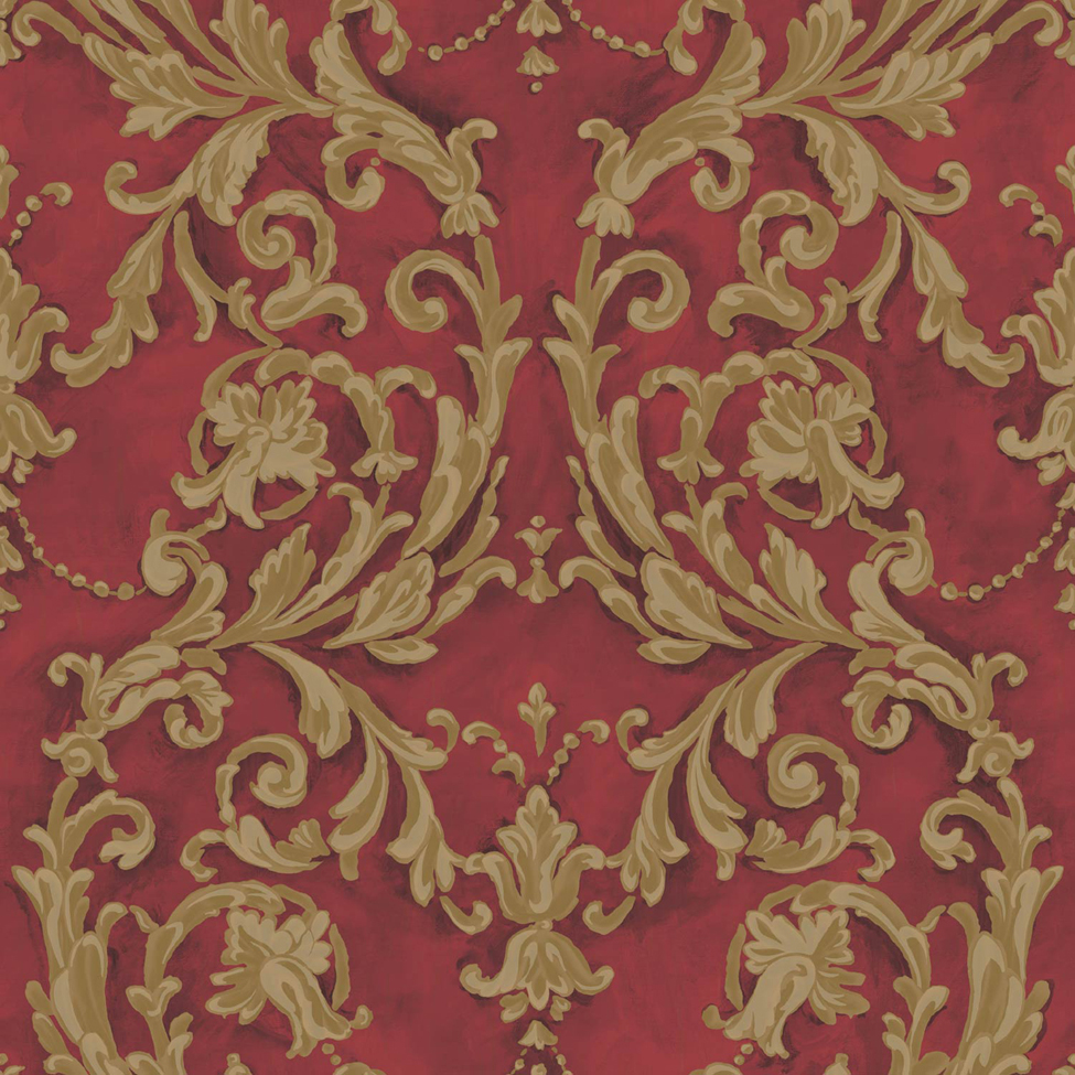 Classic Wallpaper Grecian Scroll Red Muriva J85210