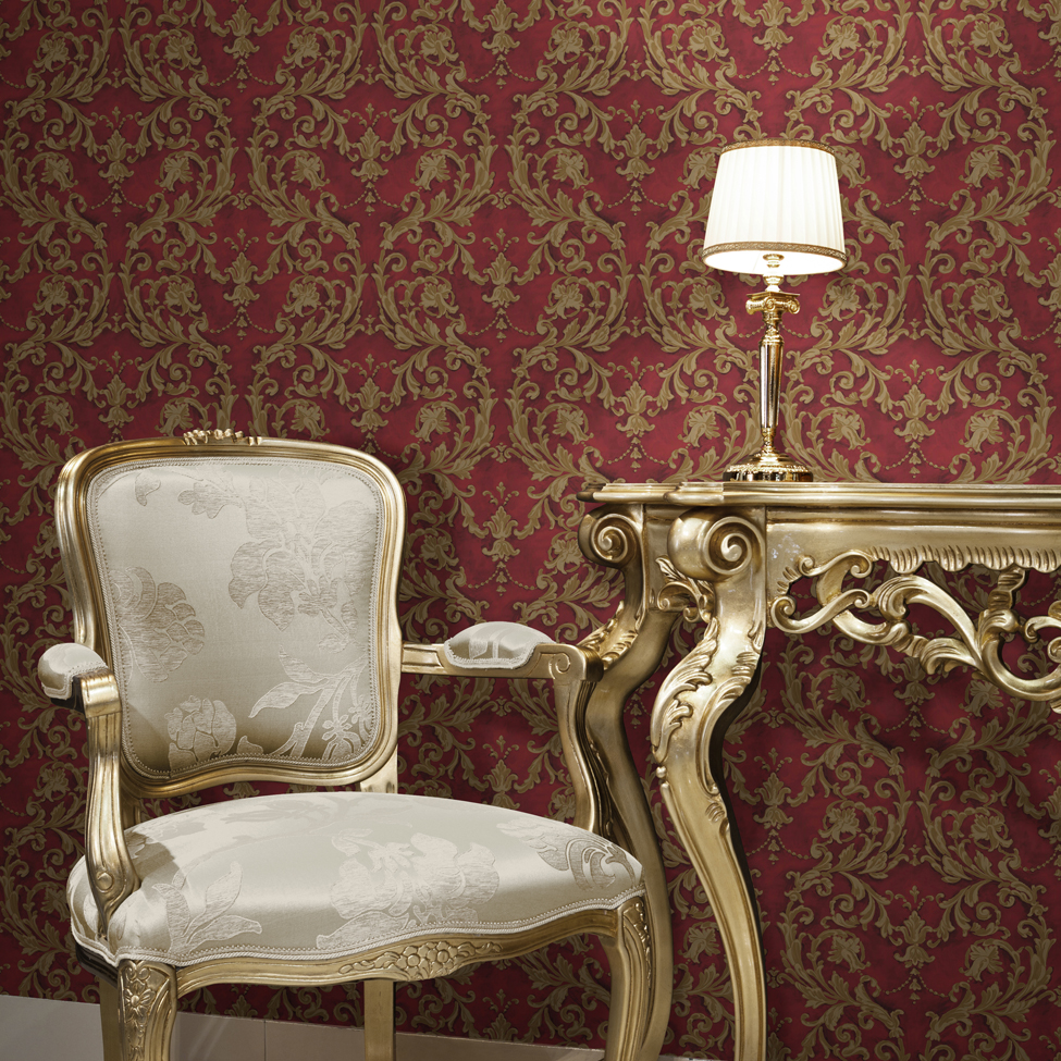Classic Wallpaper Grecian Scroll Red Muriva J85210 Roomshot