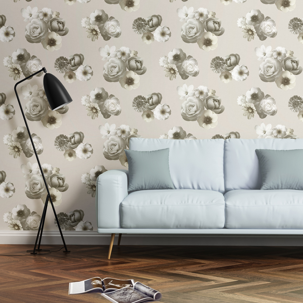Floral Wallpaper Aurora Ivory Muriva 142501 Roomshot