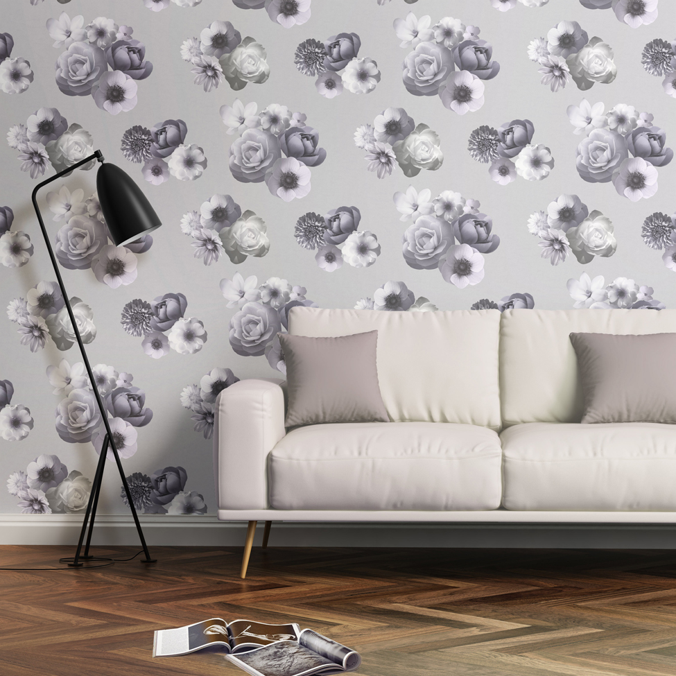 Floral Wallpaper Aurora Lilac Muriva 142502 Roomshot