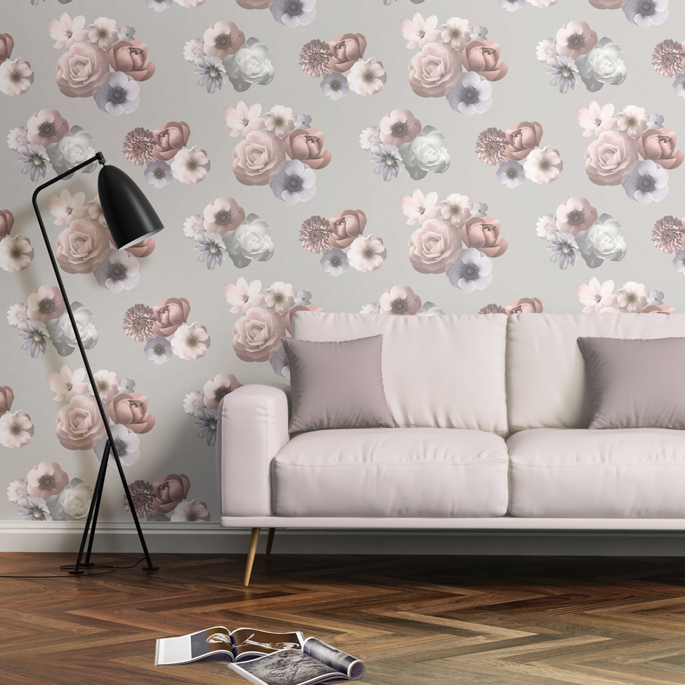 Floral Wallpaper Aurora Pink Grey Muriva 142503 Roomshot