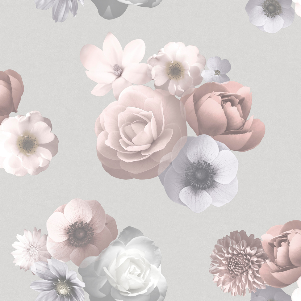 Floral Wallpaper Aurora Pink Grey Muriva 142503