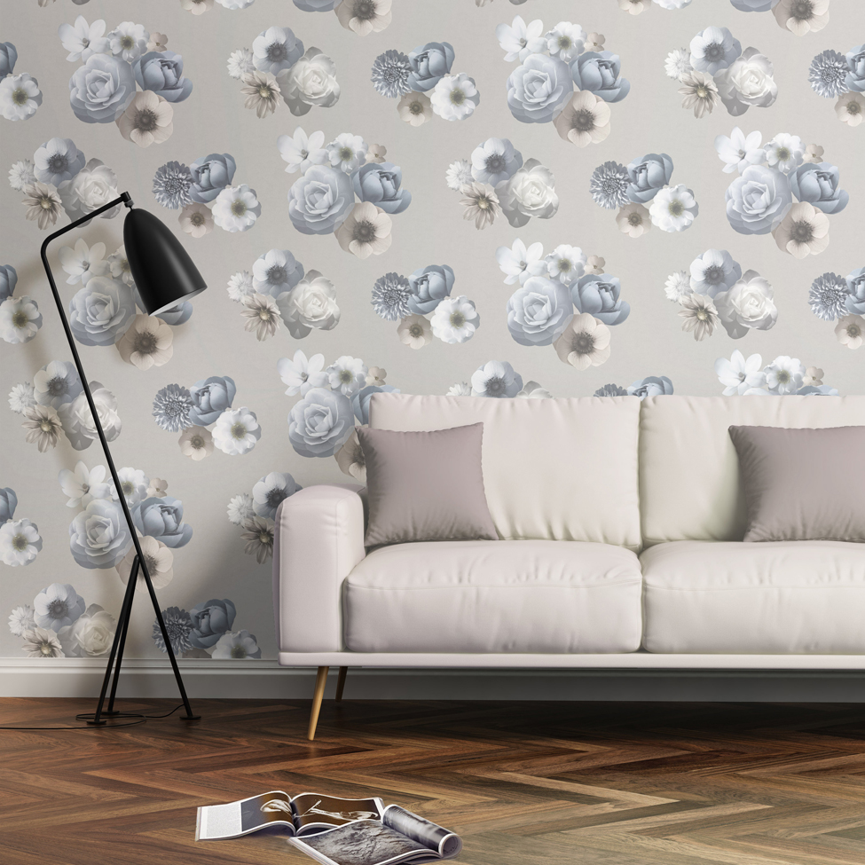 Floral Wallpaper Aurora Blue Grey Muriva 142504 Roomshot