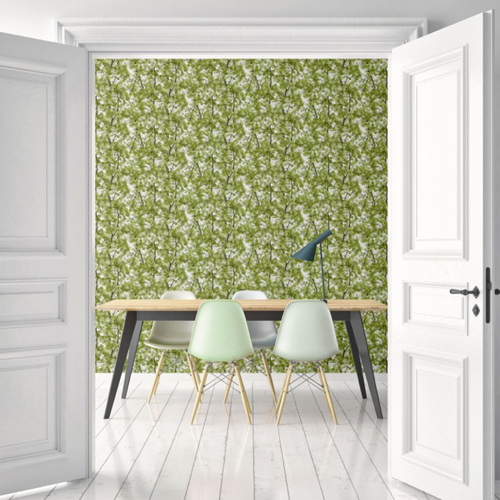 Floral Wallpaper Canopy Green Muriva L33104 RS