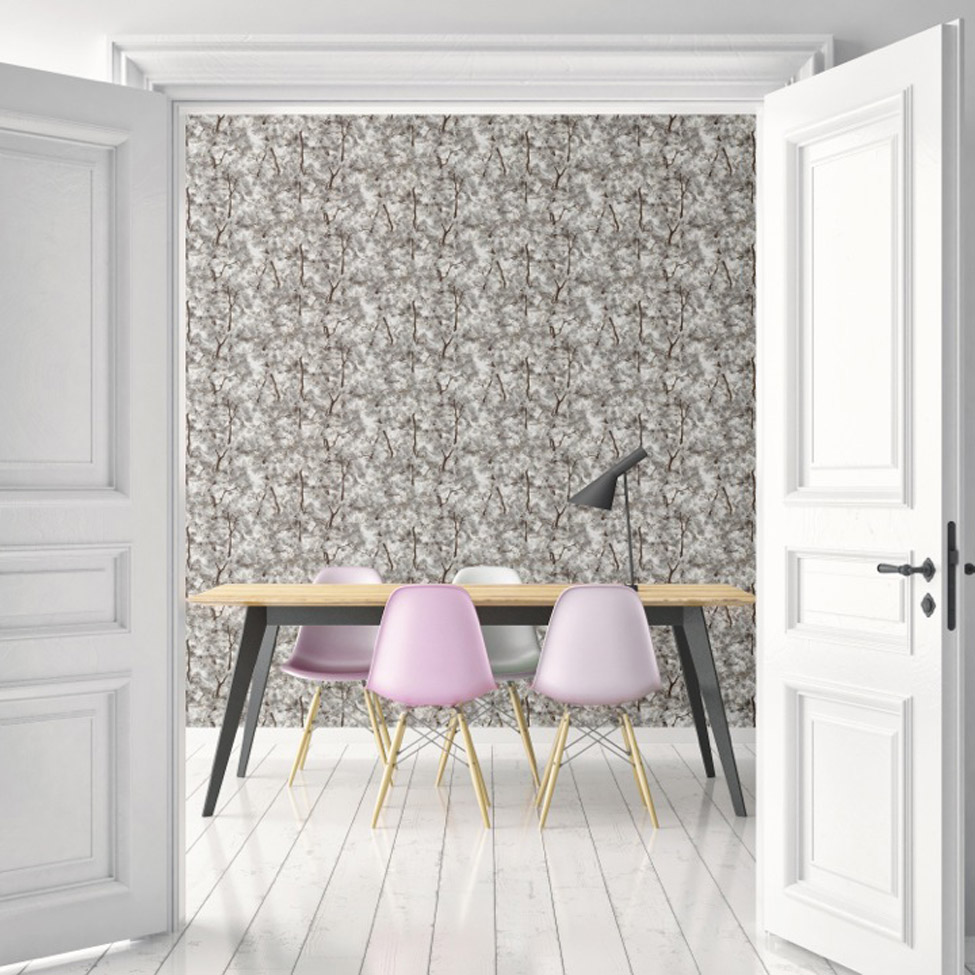 Floral Wallpaper Canopy Grey Muriva L33109 RS