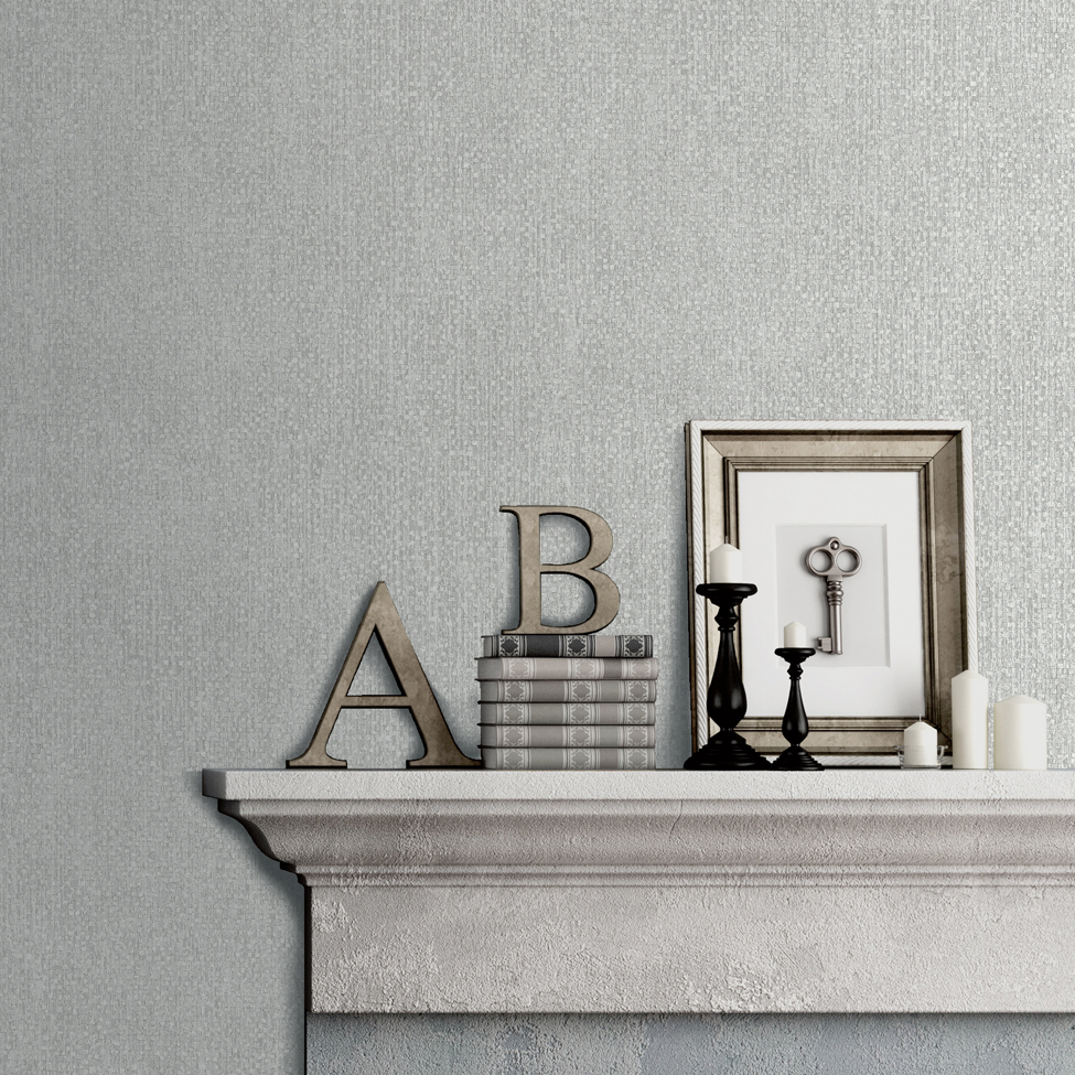 Textured Wallpaper Hadrian Silver Muriva A04509 Roomshot