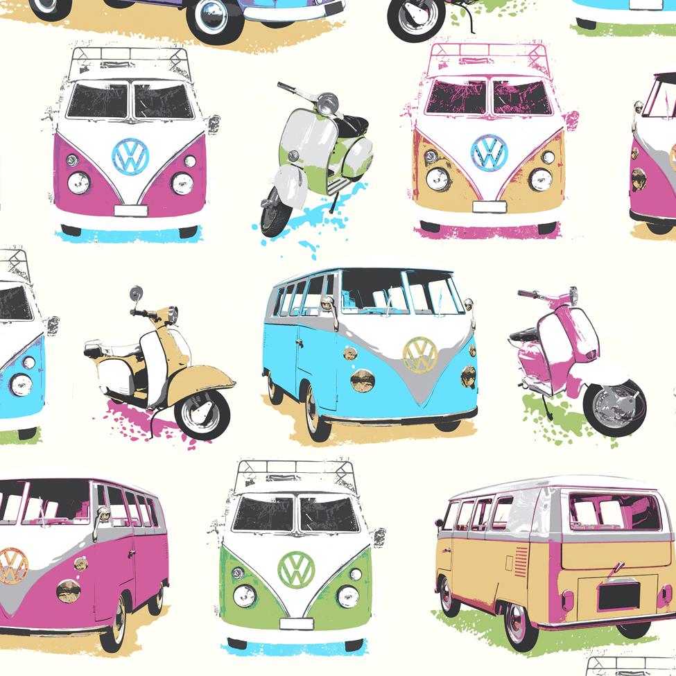 VW Camper Van Wallpaper Retro Muriva J05951 WP