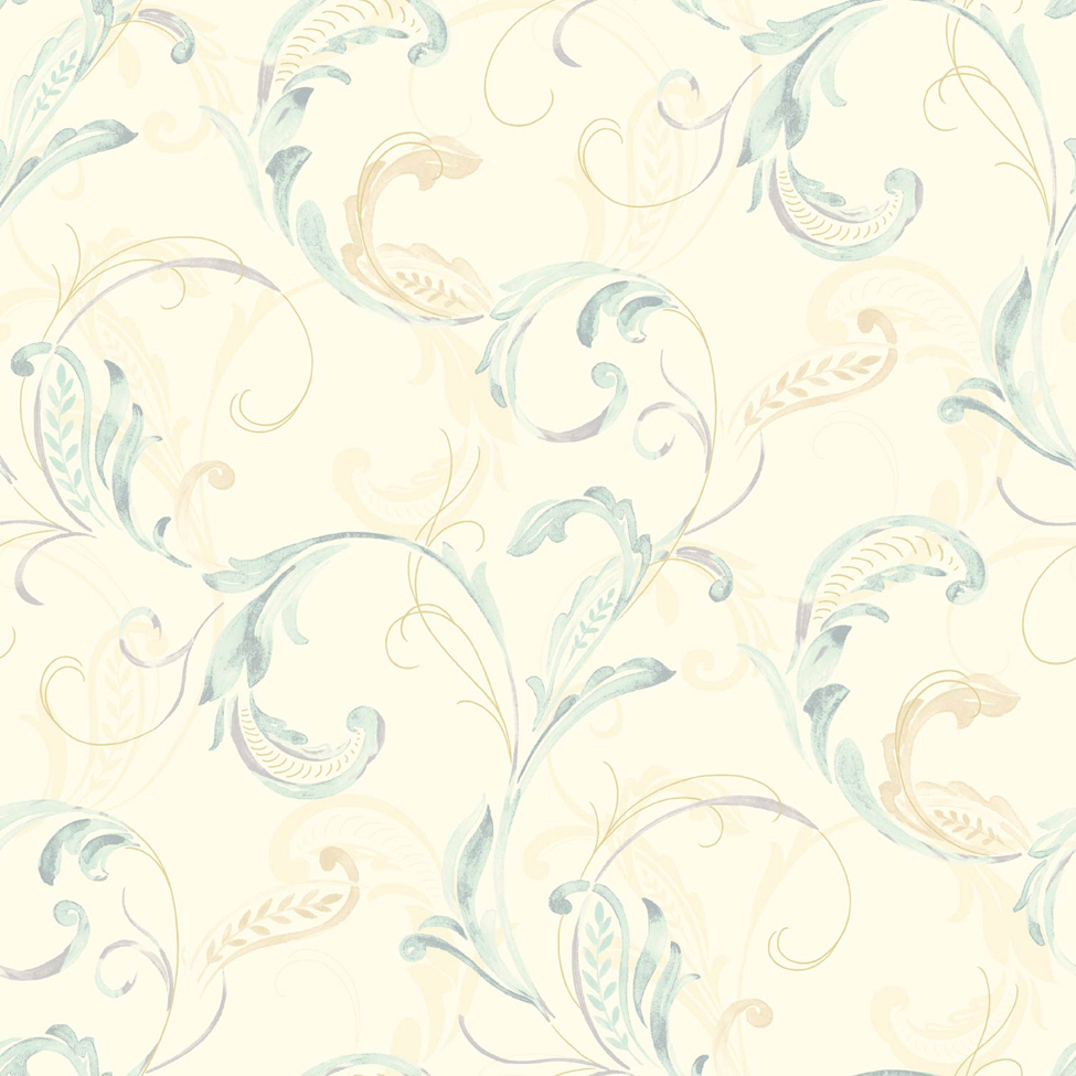 Classic Wallpaper Crete Scroll Blue Muriva J83601