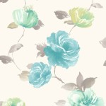 Floral Wallpaper Vintage Rose Blue Muriva J84501