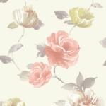 Floral Wallpaper Vintage Rose Coral Muriva J84505