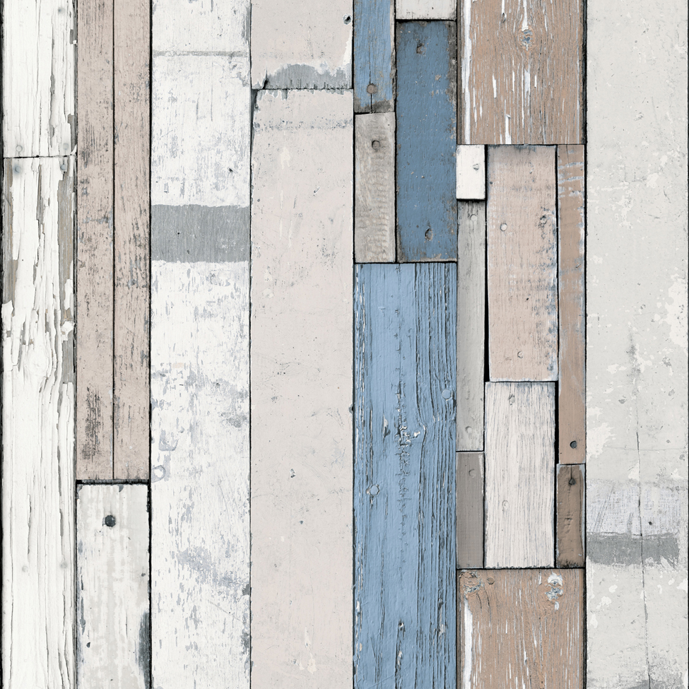 Mural Wallpaper Plank Stripe Blue Muriva L10401