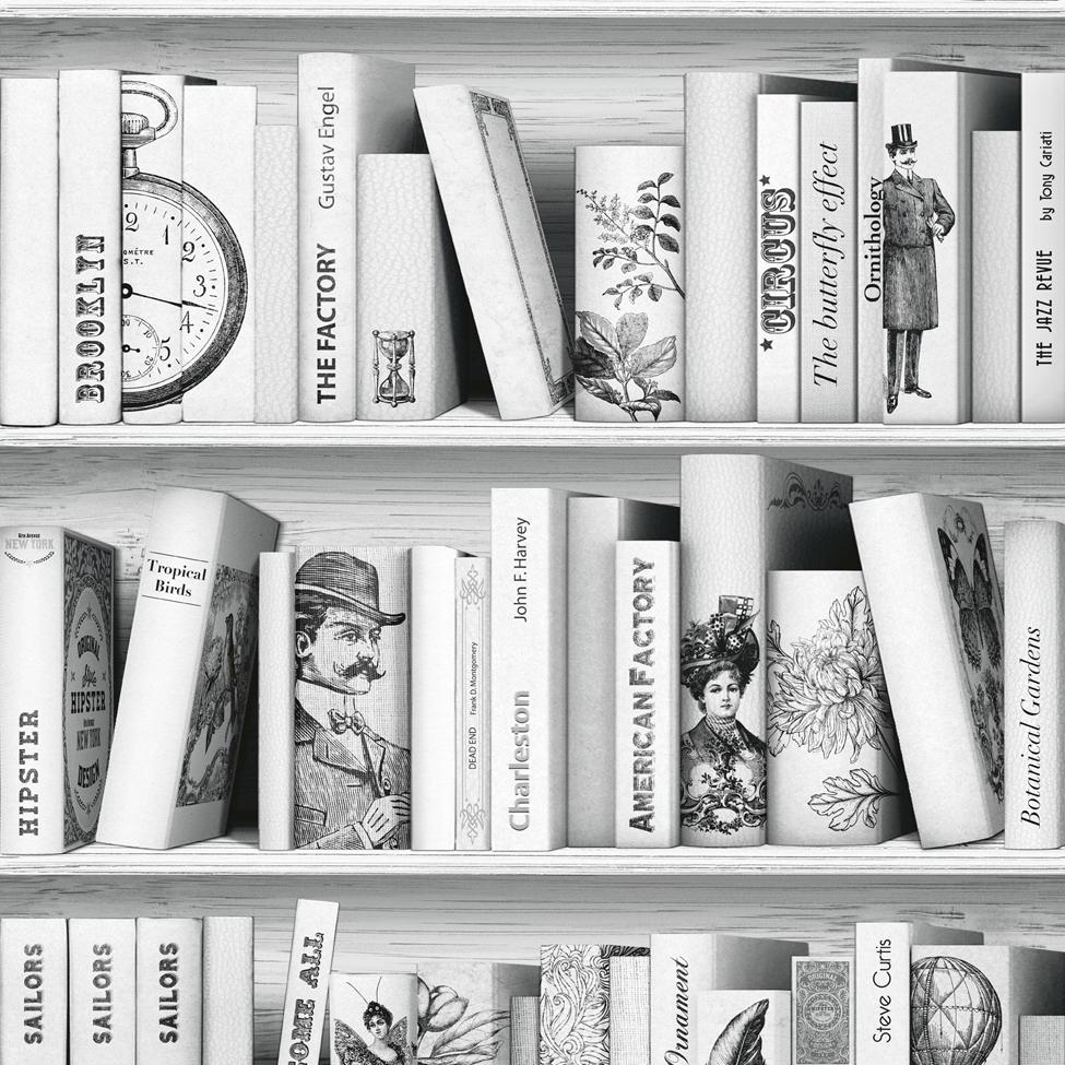 Modern Wallpaper Vintage Library Muriva L10507