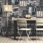 Modern Wallpaper Cafe Paris Black Muriva L13409 Roomshot 1