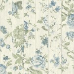 Mural Wallpaper Flowers on Wood Blue Muriva L13601