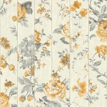 Mural Wallpaper Flowers on Wood Yellow Muriva L13602