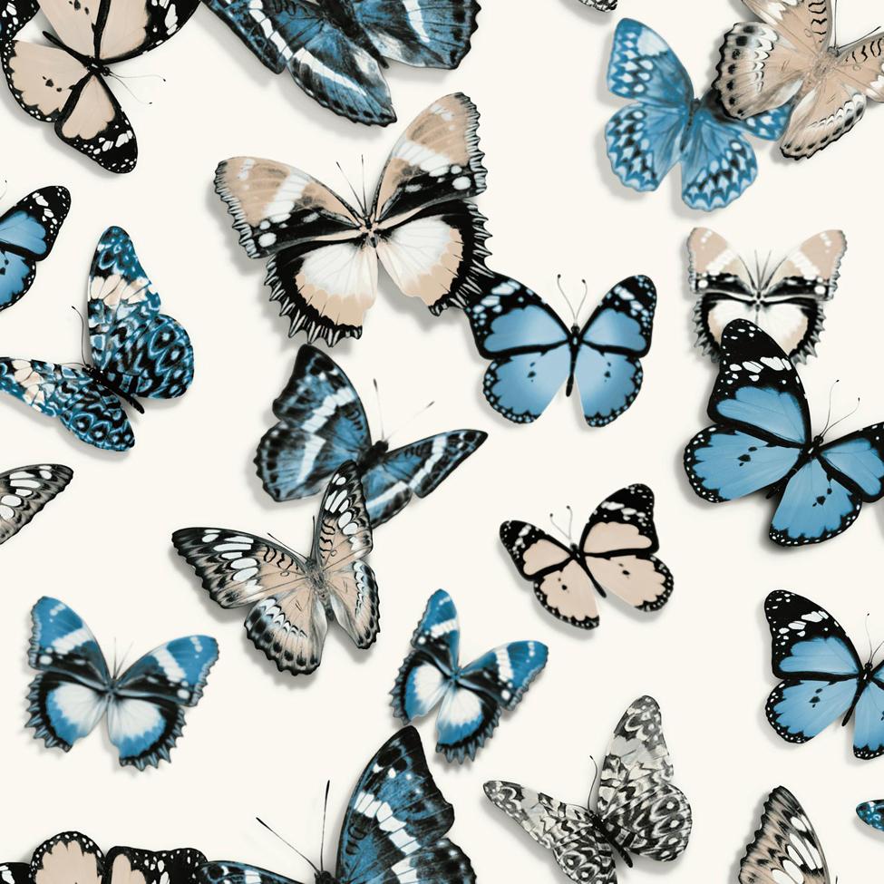 Modern Wallpaper Flutterby Blue Muriva L13701