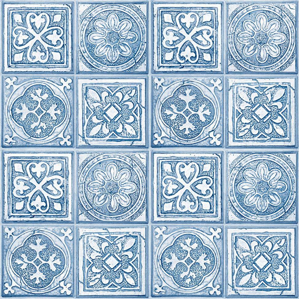 Modern Wallpaper Celtic Tiles Blue Muriva L14301