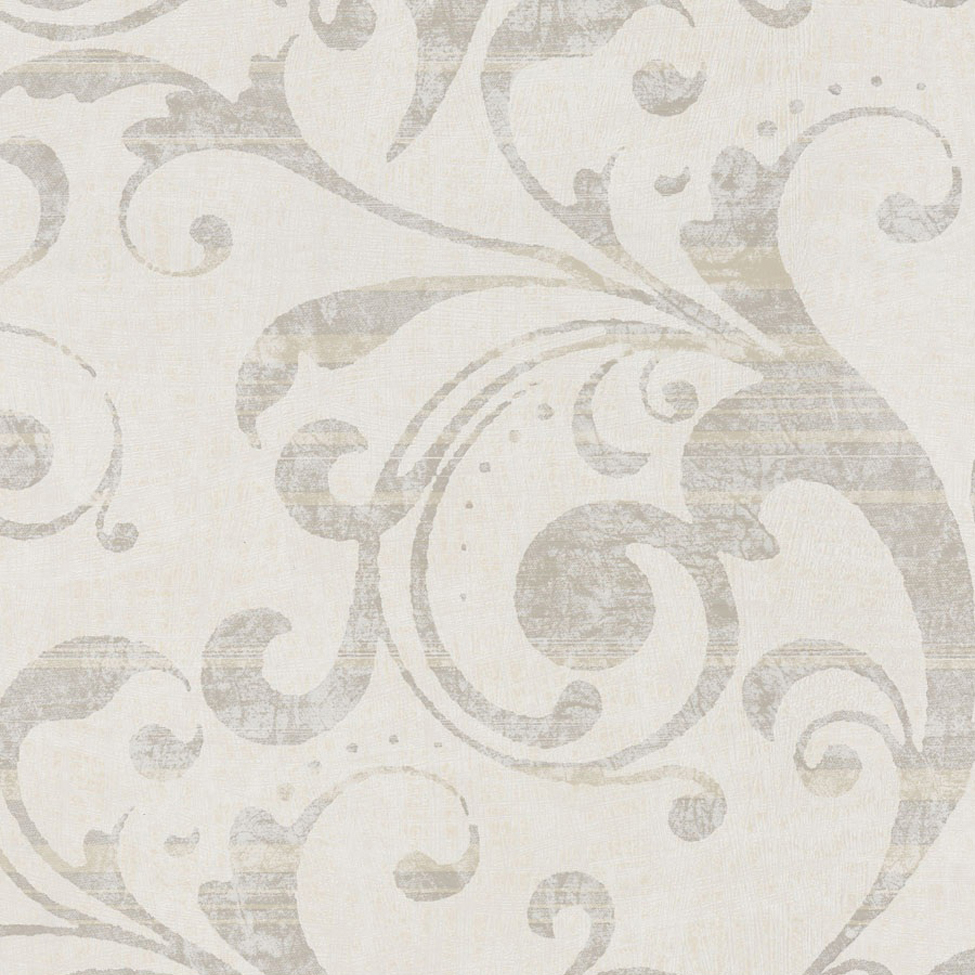 Classic Wallpaper Lyra Scroll Vanilla Muriva 53157