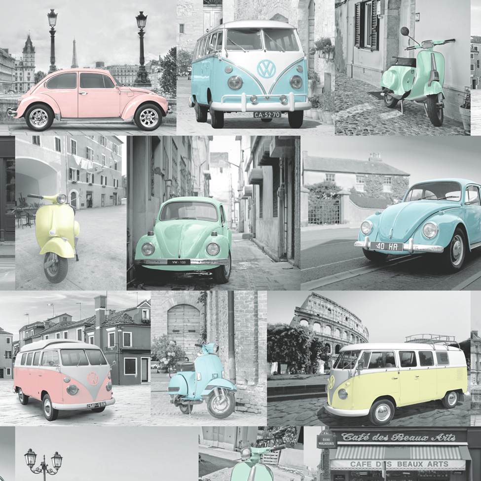 Modern Wallpaper VW Collage Multi Muriva 102563 WP