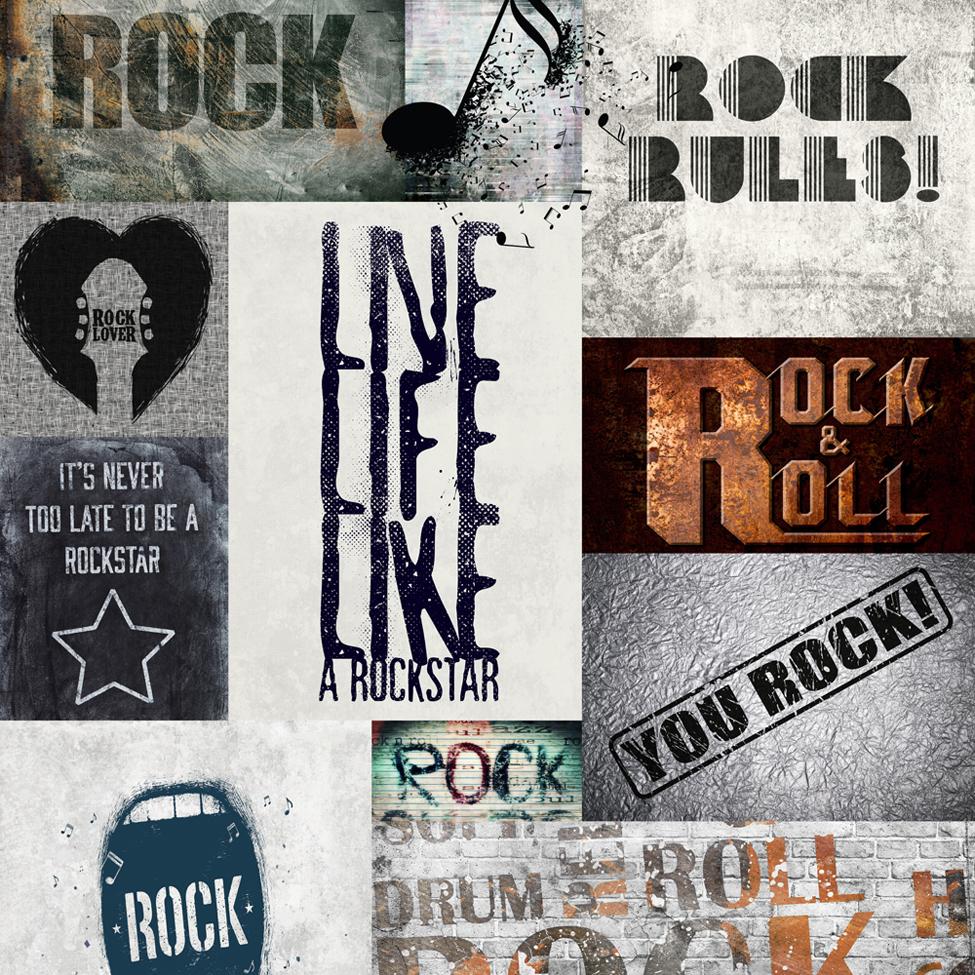 Modern Wallpaper Rock Rules Multi Muriva 102567
