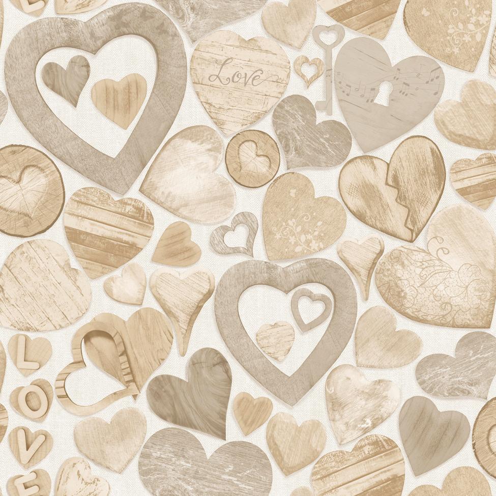 Modern Wallpaper Wooden Hearts Muriva 102570