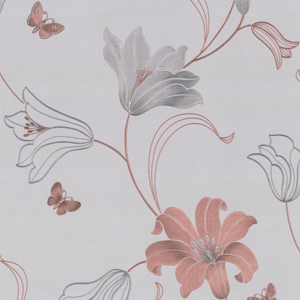 Floral Wallpaper Amelia Floral Silver&Gunmetal 701414