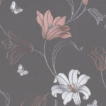 Floral Wallpaper Amelia Floral Charcoal&Rose 701411