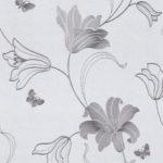Floral Wallpaper Amelia Floral Silver 701414 Roomshot
