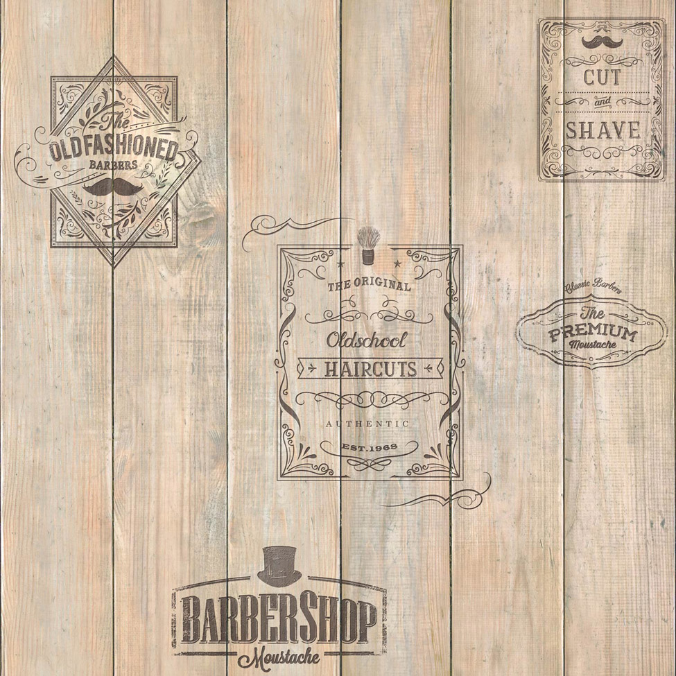 Modern Wallpaper Wooden Barber Shop Muriva 579627 Murivamuriva