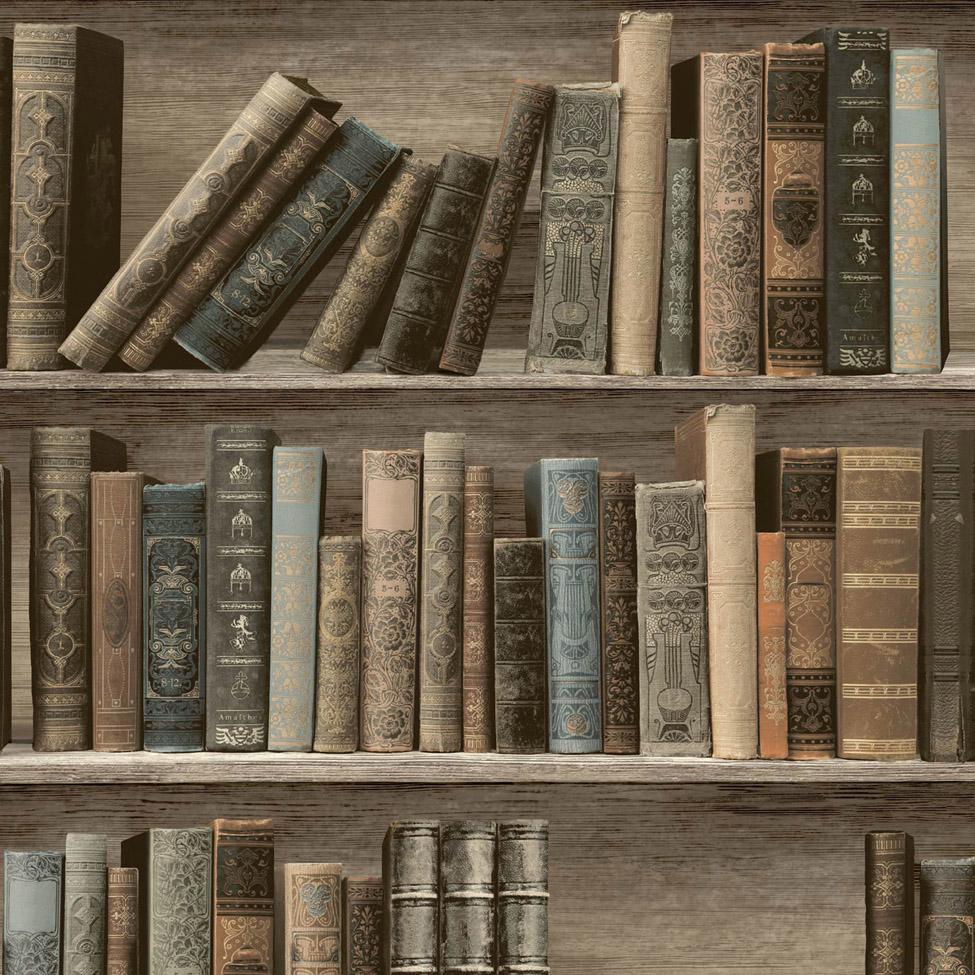 Modern Wallpaper Classic Library Sepia Muriva L32007 WP
