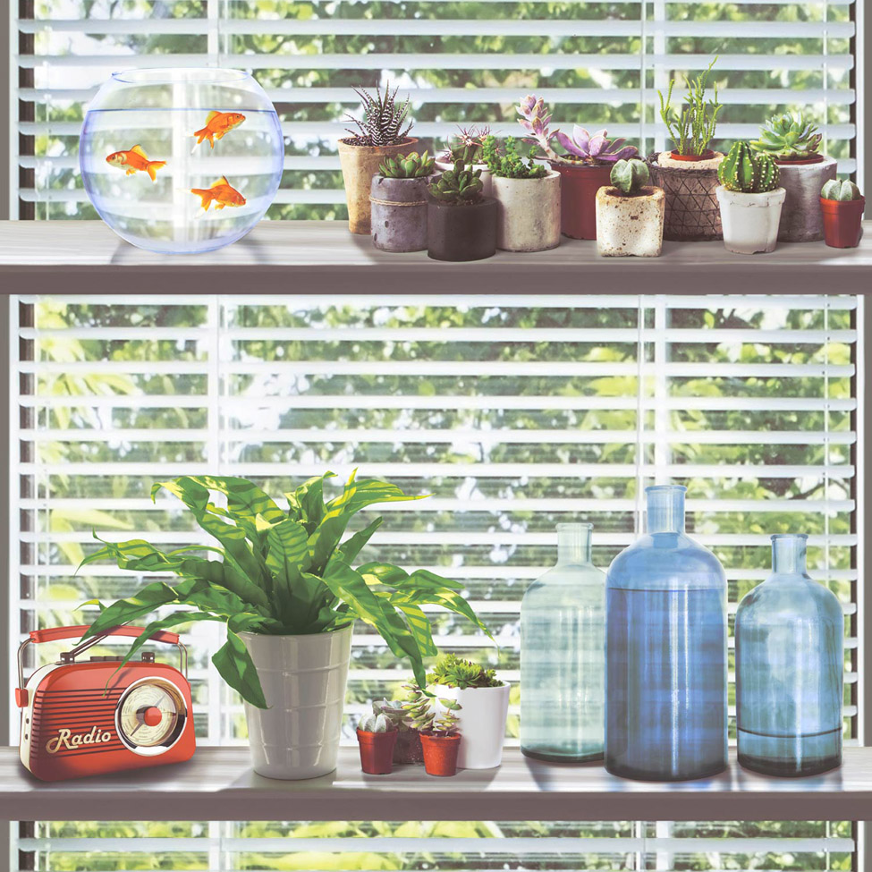 Modern Wallpaper Spring Shelves Muriva L34604 WP