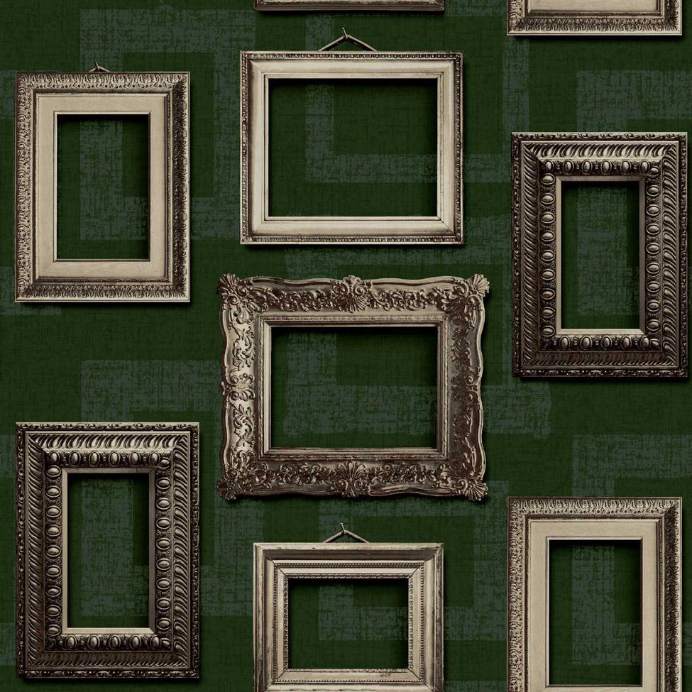 Modern Wallpaper Vintage Frames Green Muriva L35104 WP
