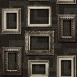 Modern Wallpaper Vintage Frames Black Muriva L35109 WP