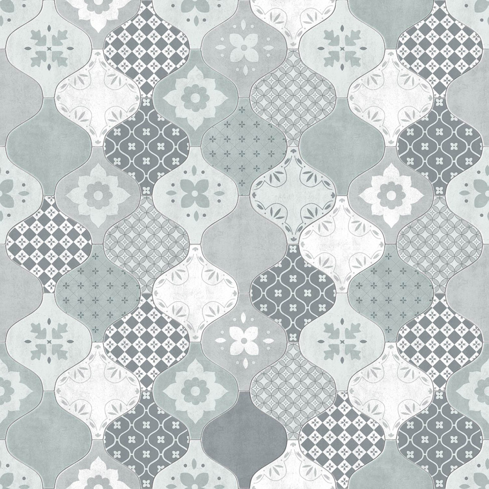 Modern Wallpaper Patterned Tiles Teal Muriva L40401 WP
