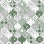 Modern Wallpaper Patterned Tiles Green Muriva L40404 WP