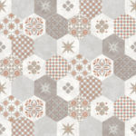 Modern Wallpaper Patchwork Tiles Orange Muriva L40505 WP