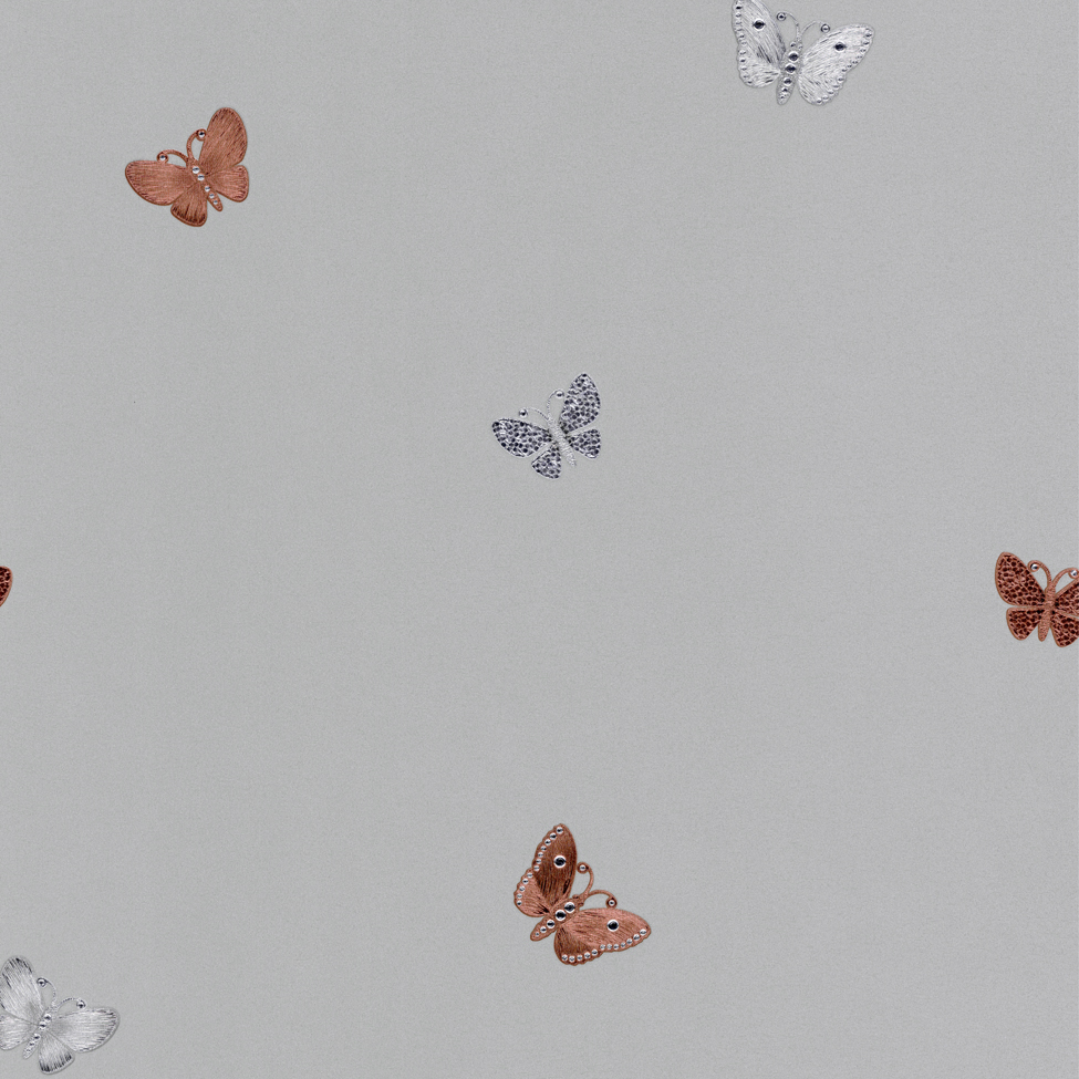Modern Wallpaper Amelia Butterfly Stone & Rose Gold Muriva 701420