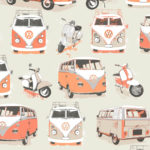 Modern Wallpaper VW Camper Van Orange Muriva J05915