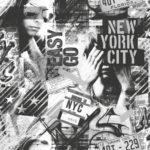 Modern Wallpaper American Graffiti 2 Black and White Muriva L06109
