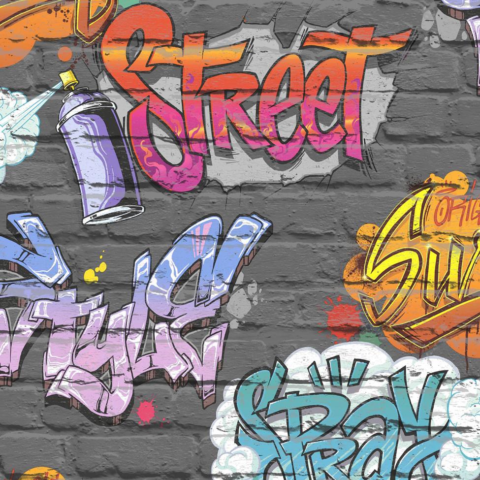 Modern Wallpaper Streetstyle Black Muriva L17901