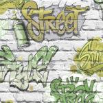 Modern Wallpaper Streetstyle Green Muriva L17904