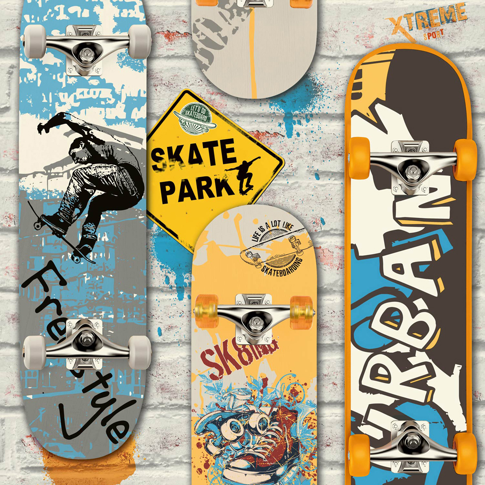 Modern Wallpaper Skateboards Multi Muriva L29505