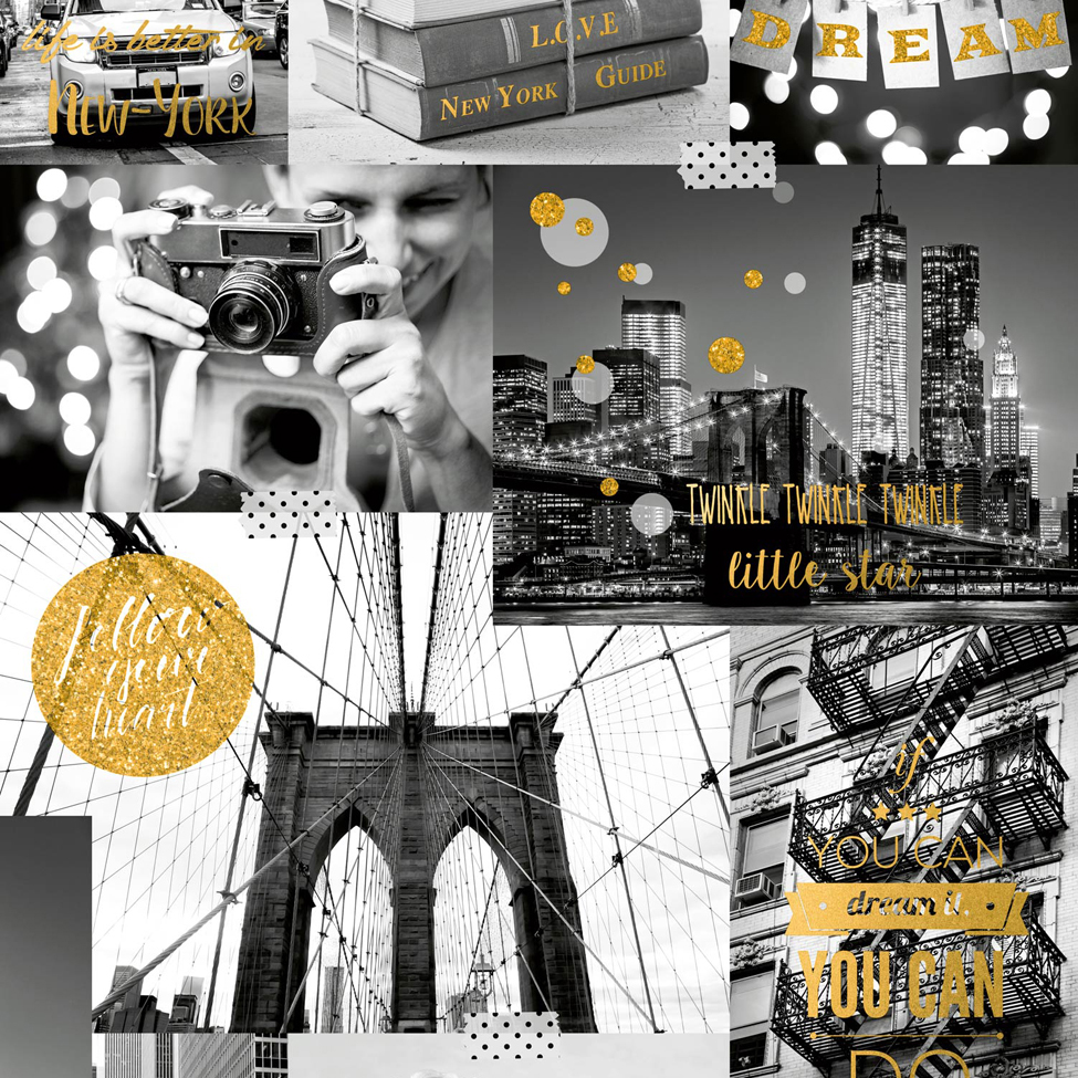 Modern Wallpaper Bright Lights Big City Gold Muriva L31002